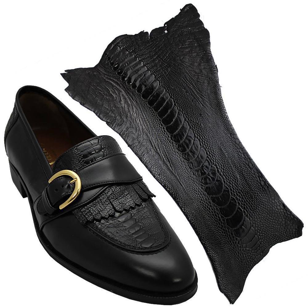 Sapato Masculino com com Canela de Avestruz  cor Preto 059CANPRE