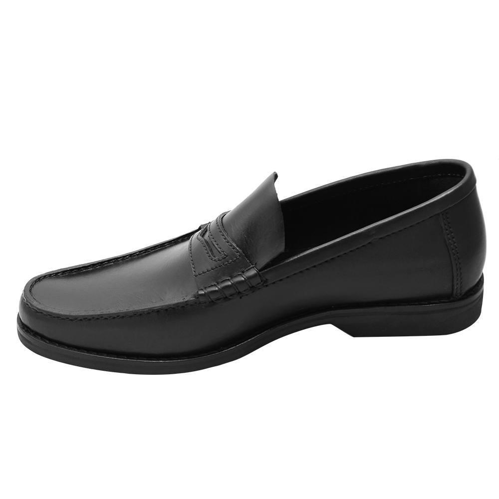 Sapato Masculino Preto Penny Loafer Fôrma Alongada 666MBPRE