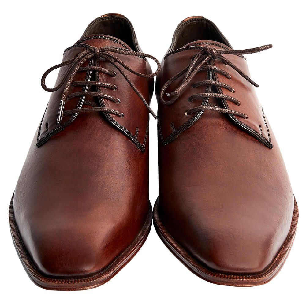 Sapato Masculino Social Derby Plain Toe cor artesanal Mogno 2070LMOG
