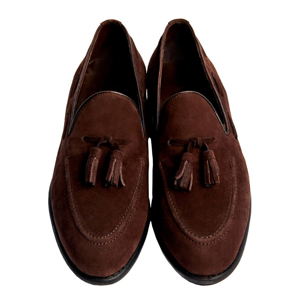 Sapato Masculino Tassel Loafer em Camurça 019CAMCAF