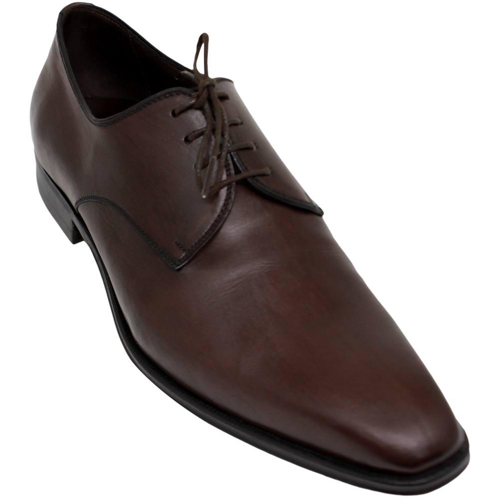 Sapato Masculino Social Derby Plain Toe cor Marrom Café 303LCAF