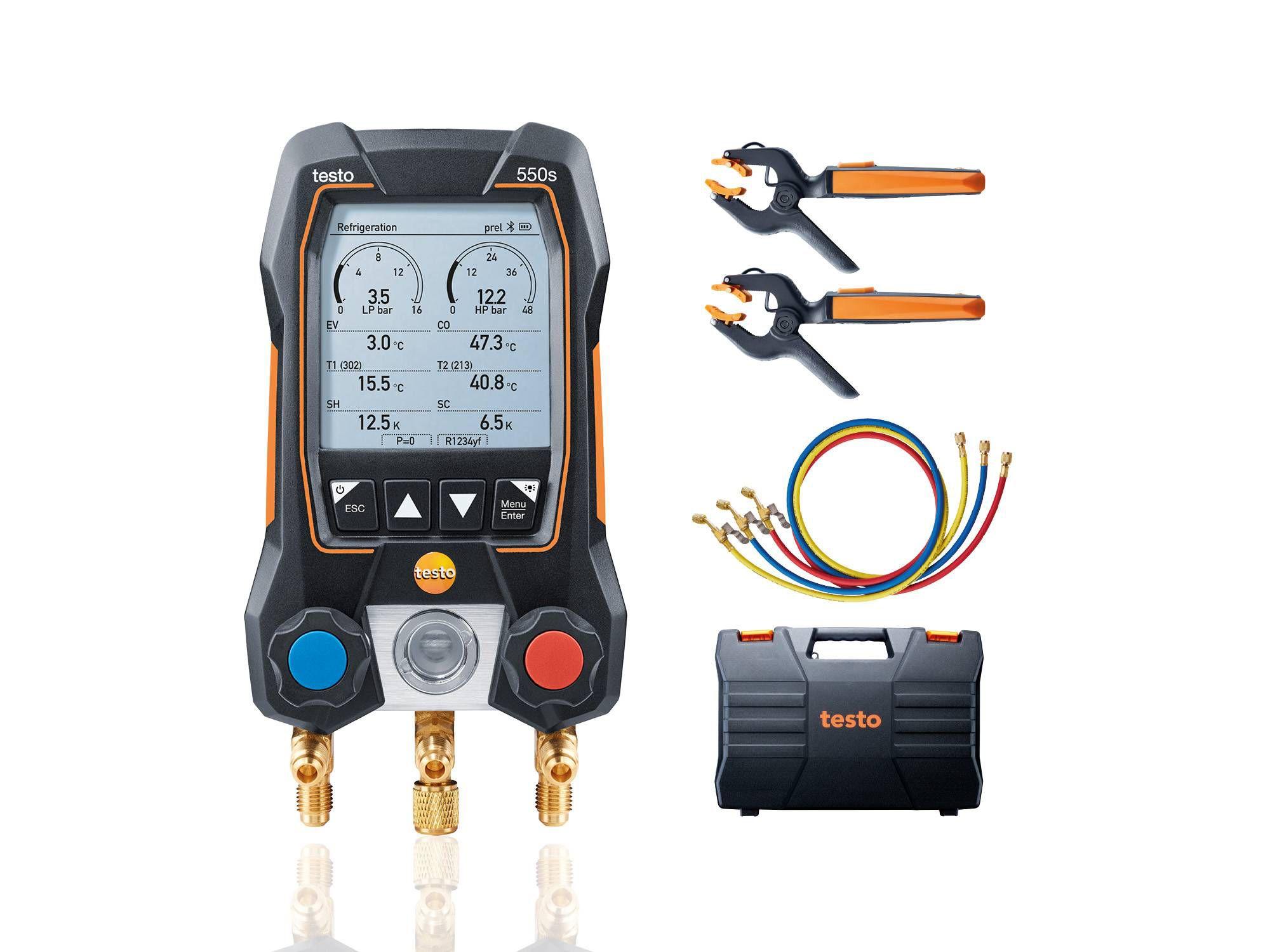 Manifold Digital 2 Vias com Sondas de Temperatura e Mangueiras Testo 550S