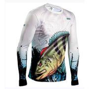 Camiseta BRK Fishing Combat Fish Tucunare Azul 2.0 fpu 50+