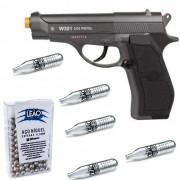 Kit Pistola de Pressão CO2 Win Gun W301 4.5mm + esfera + Co2