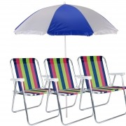 Kit Praia 3 Cadeiras Alta Alumínio + Guarda Sol 1,80m Mor