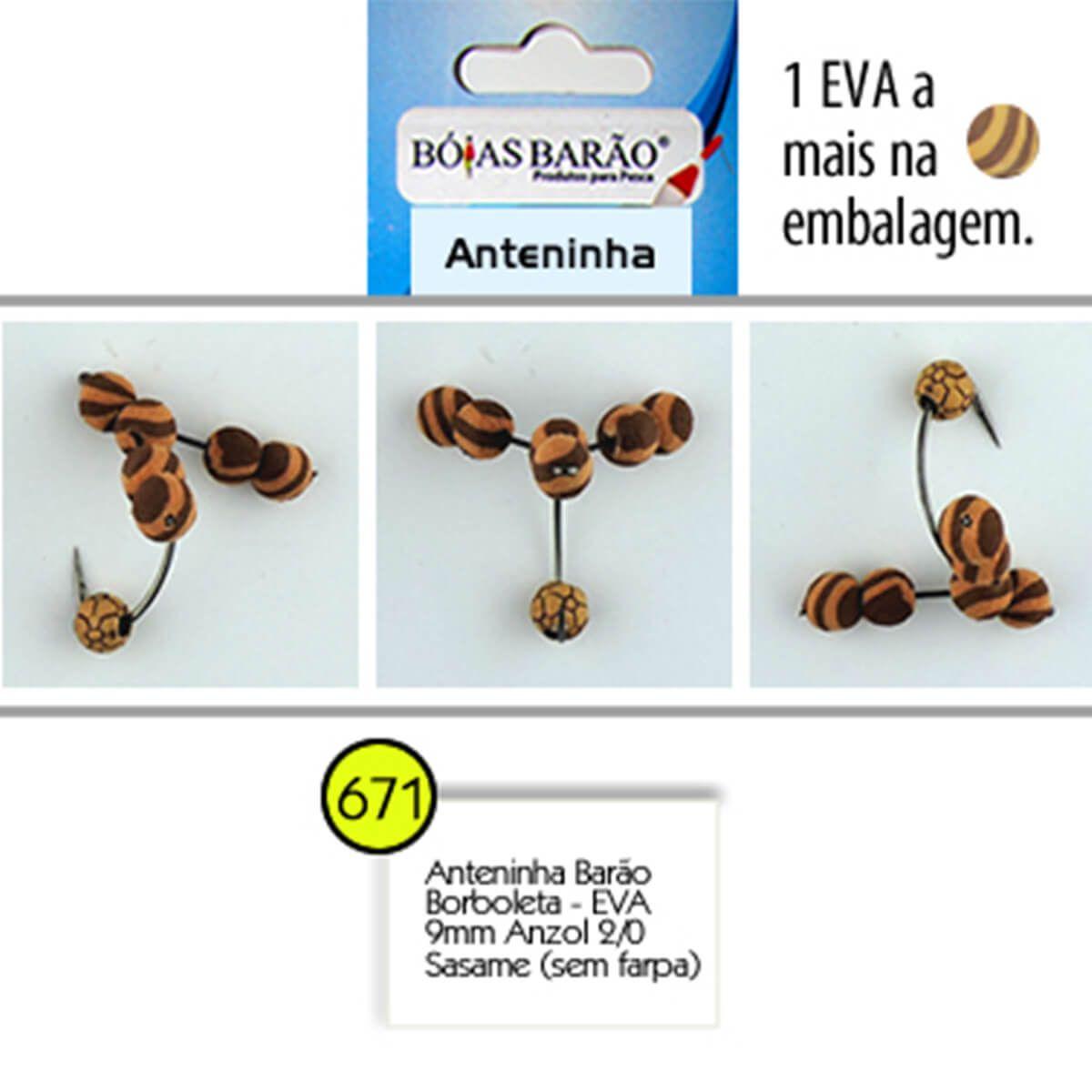 Anteninha Boias Barão Borboleta EVA com Miçanga Anzol Sasame 2/0 - Nº 671
