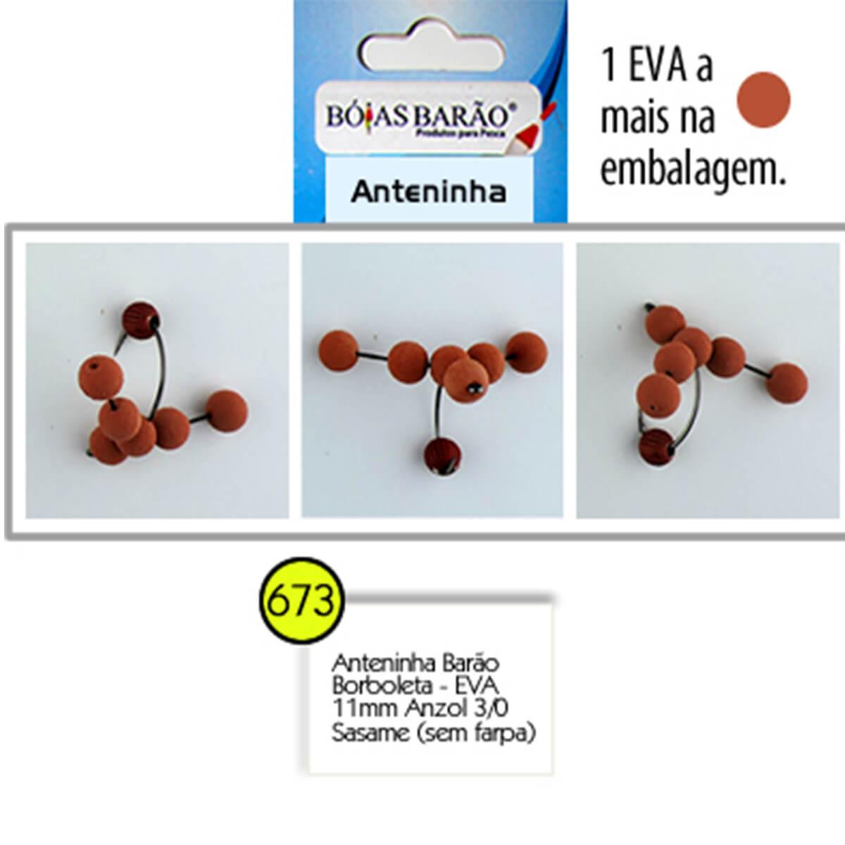 Anteninha Boias Barão Borboleta EVA com Miçanga Anzol Sasame 3/0 - Nº 673