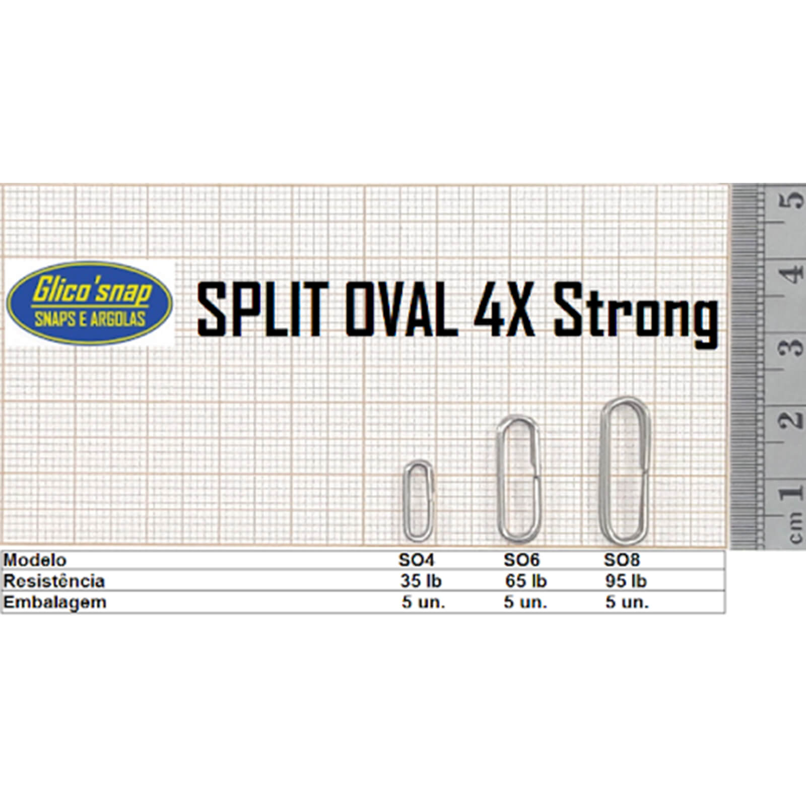 Argola Split Oval 4x MOD SO6 65lb 5un Glico'Snap