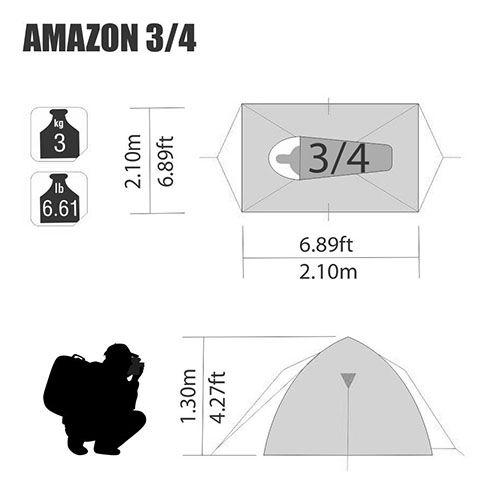 Barraca de Camping Amazon 3/4 Pessoas Nautika