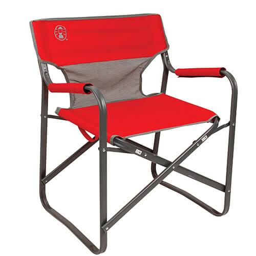 Cadeira Coleman Steel Deck Dobrável Vermelha