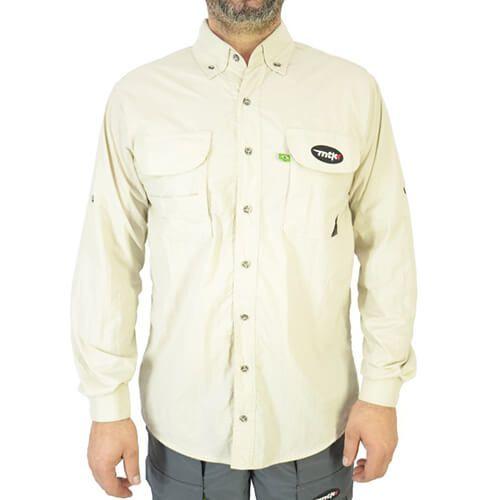 Camisa De Pesca Mtk Sky Areia Com Proteção Solar 50+ Fps
