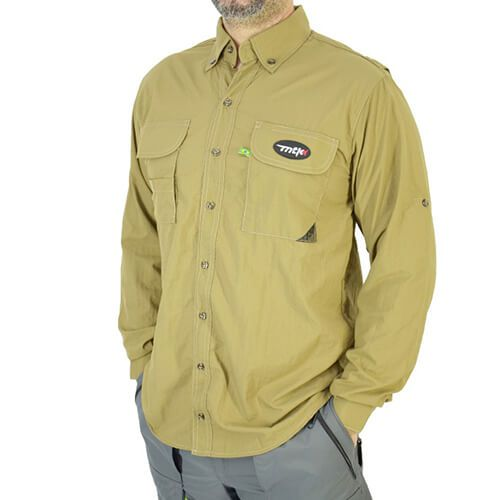 Camisa De Pesca Mtk Sky Caqui Com Proteção Solar 50+ Fps
