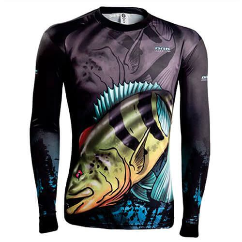 Camiseta BRK Fishing Combat Fish Tucunare Azul 1.0 fpu 50+
