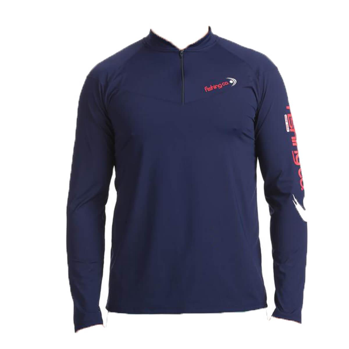 Camiseta Fishing Co com Zíper Marinho