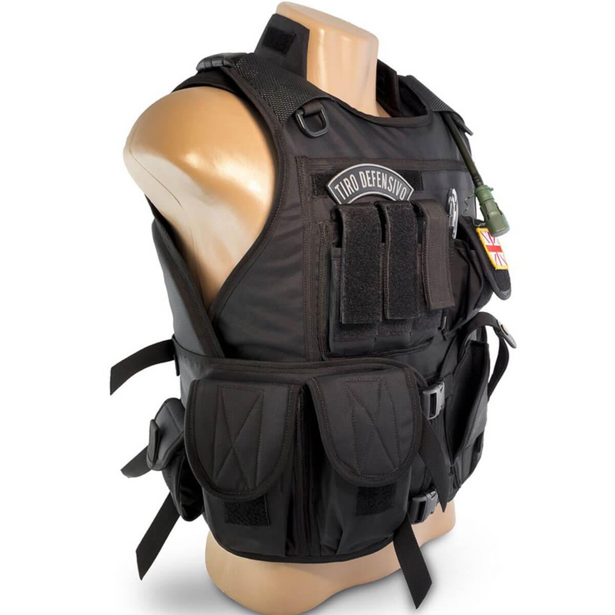Colete Tático Modular Policial Preto Leão Modelismo