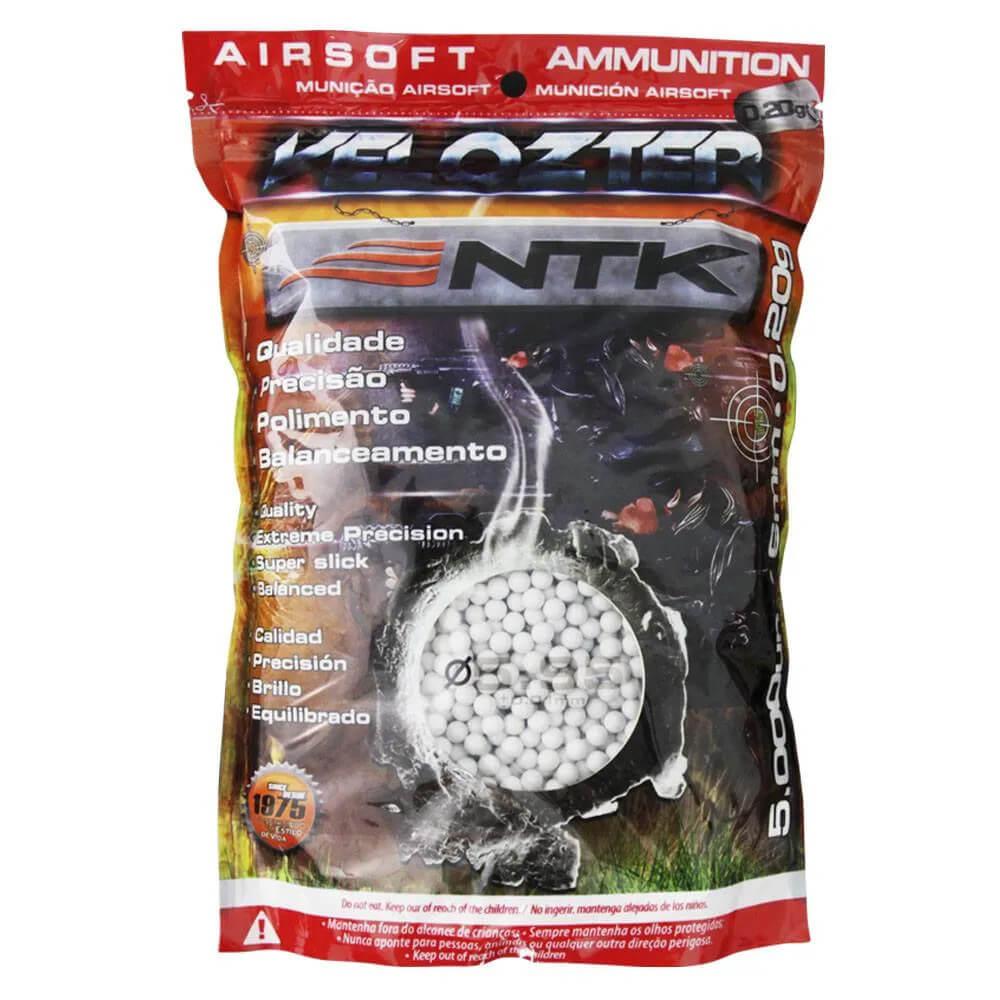 Esfera BBs Velozter 0,20gr Munição para Airsoft 5000pç