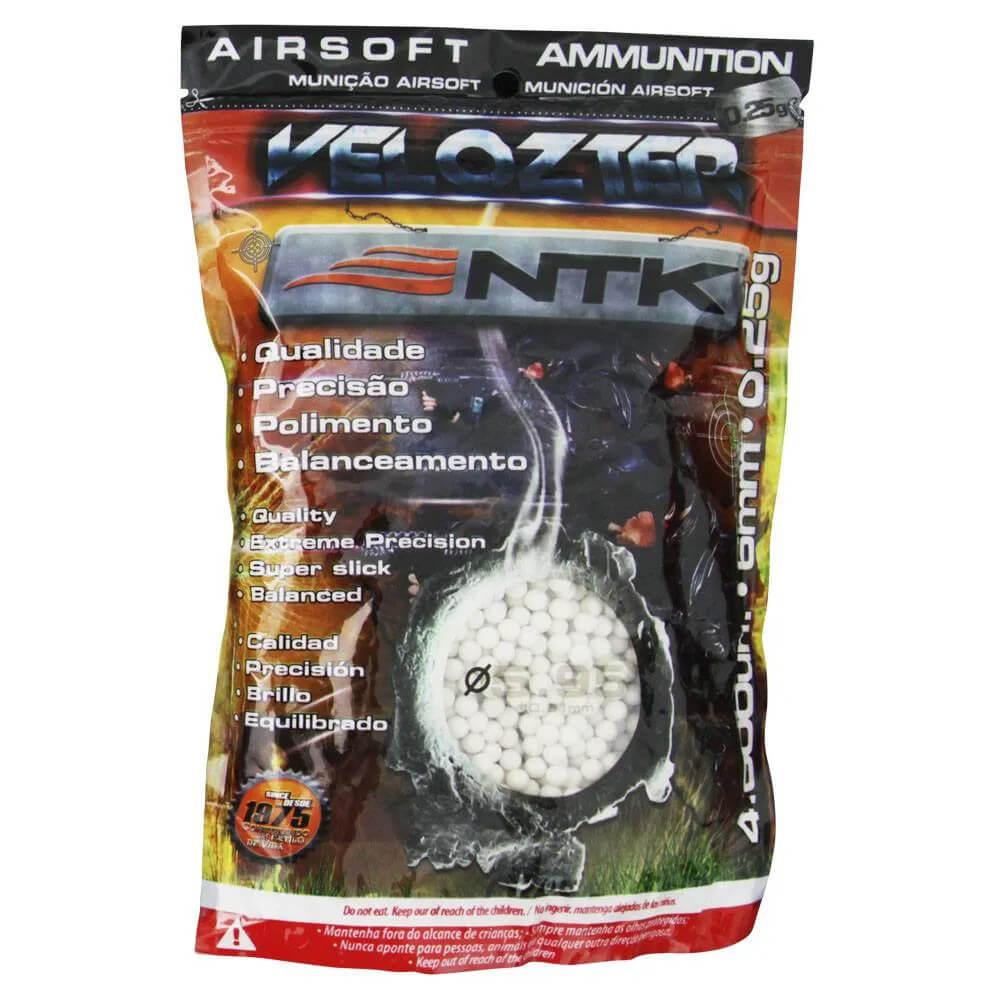Esfera BBs Velozter 0,25gr Munição para Airsoft 4000pç