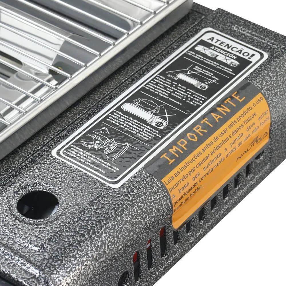 Fogareiro horizontal NTK Flex Fuel 3 em 1 compatível com cartucho de gás e botijão de gás Magus