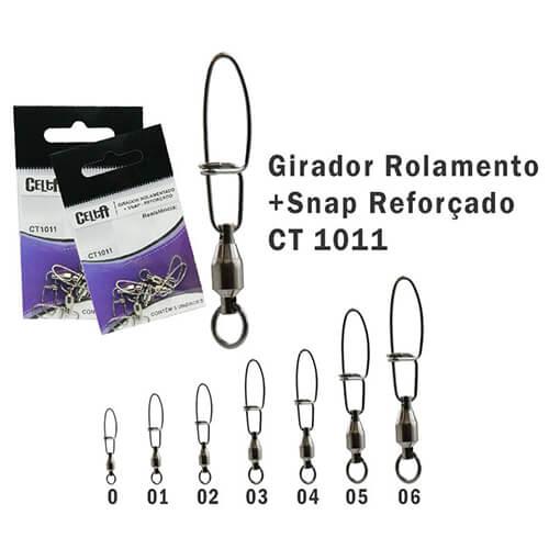 Girador Celta com Rolamento + Snap Celta Reforçado N°6 205lb 5un