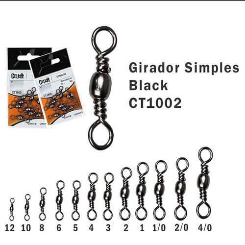 Girador Celta Simples Black N° 10 1,6mm 36lb 16,3kg 20un
