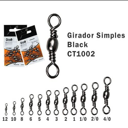 Girador Celta Simples Black N° 2 2,9cm 106lb 48kg 10un