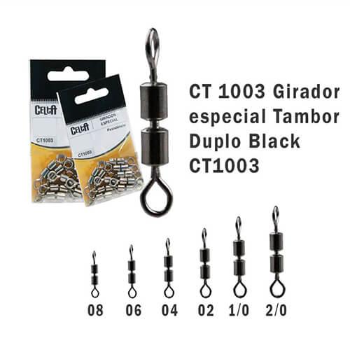 Girador Celta Tambor Duplo Black N° 8 1,3cm 48lb com 10un