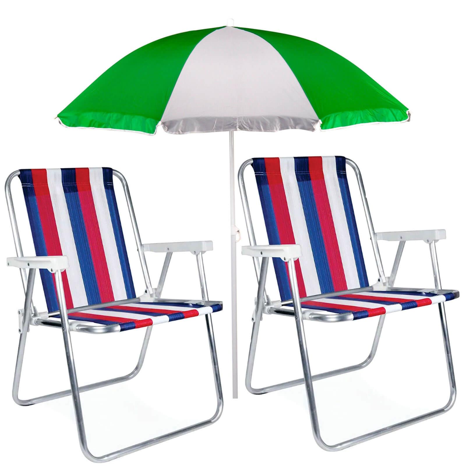 Kit Praia 2 Cadeiras Alta Alumínio + Guarda Sol 1,80m Mor