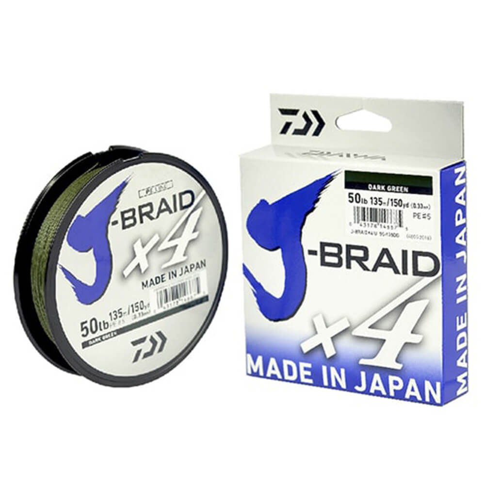 Linha Multifilamento J-Braid X4U Daiwa 0,19mm 15lb Dark Green 135m