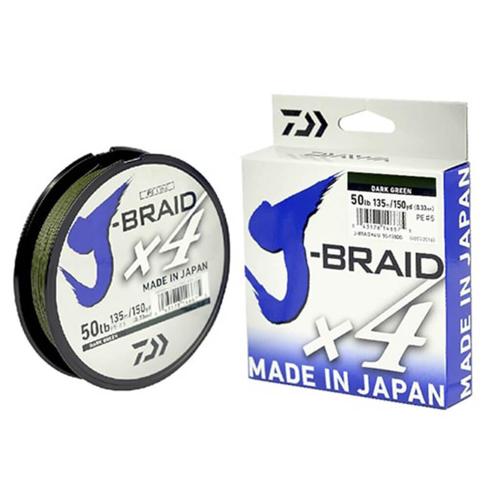 Linha Multifilamento J-Braid X4U Daiwa 0,19mm 15lb Dark Green 270m