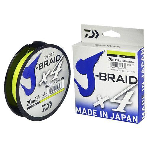 Linha Multifilamento J-Braid X4U Daiwa 0,21mm 20lb 270m Amarela