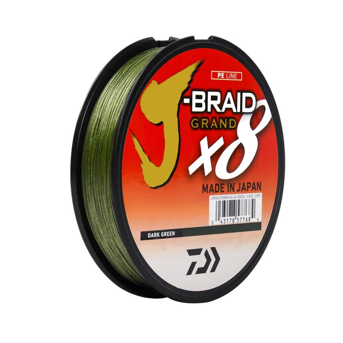 Linha Multifilamento J-Braid X8 Grand Daiwa 0,32mm 40lb Dark Green 135m