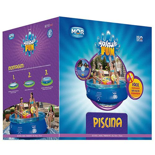 Piscina Inflável 3400 litros + Forro + Capa Piscina Splash Fun Mor