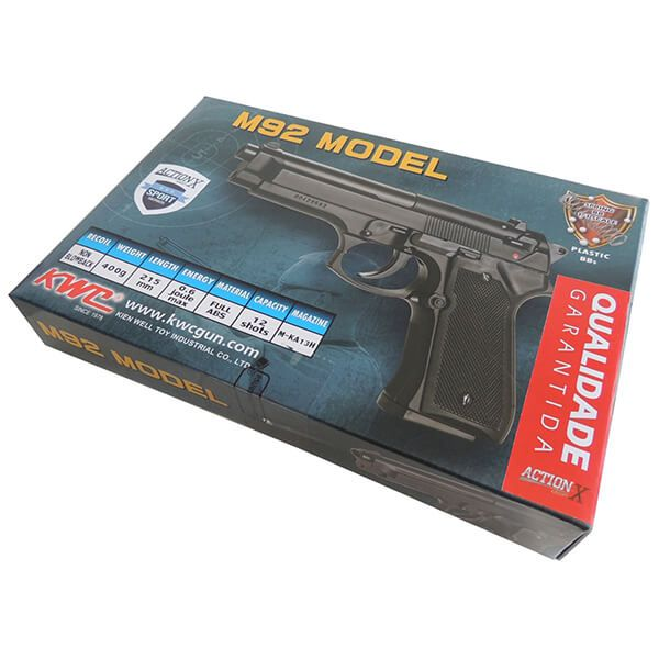 Pistola Airsoft Beretta M92 Kwc Spring 6mm - Preta