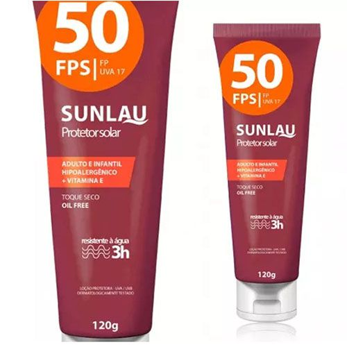 Protetor Solar Sunlau 50FPS Resistente à água 3hrs