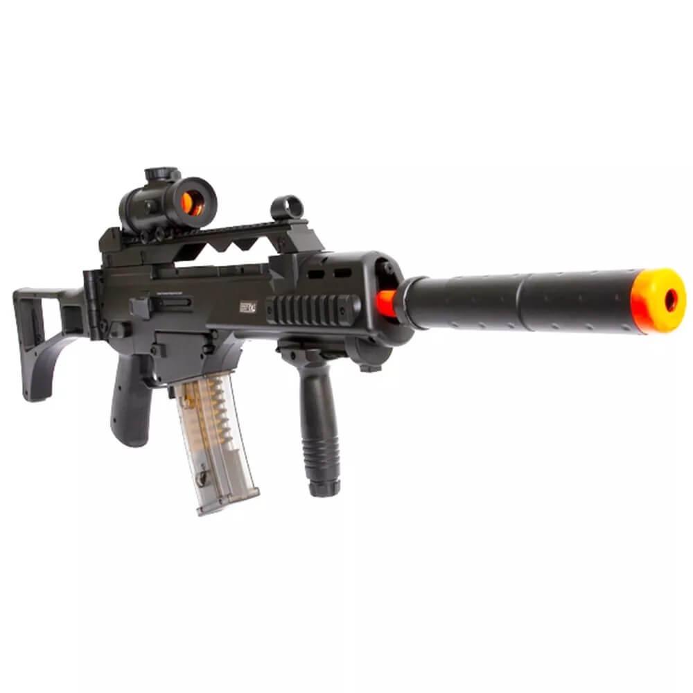 Rifle Airsoft Elétrico Cyma G36 Cm021 Bivolt Com Silenciador