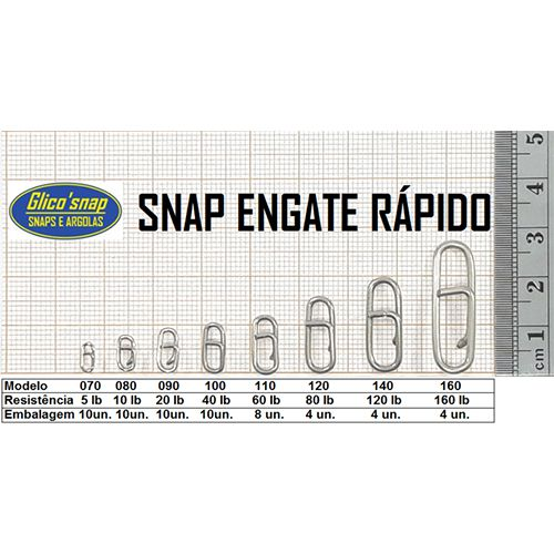 Snap Engate Rápido Glico'Snap Mod. 160 160lb 4pç