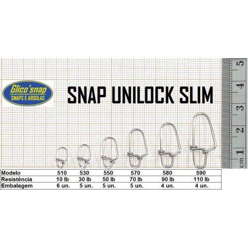 Snap Unilock Slim com Girador Glico'Snap Mod. 530 30lb 5pç
