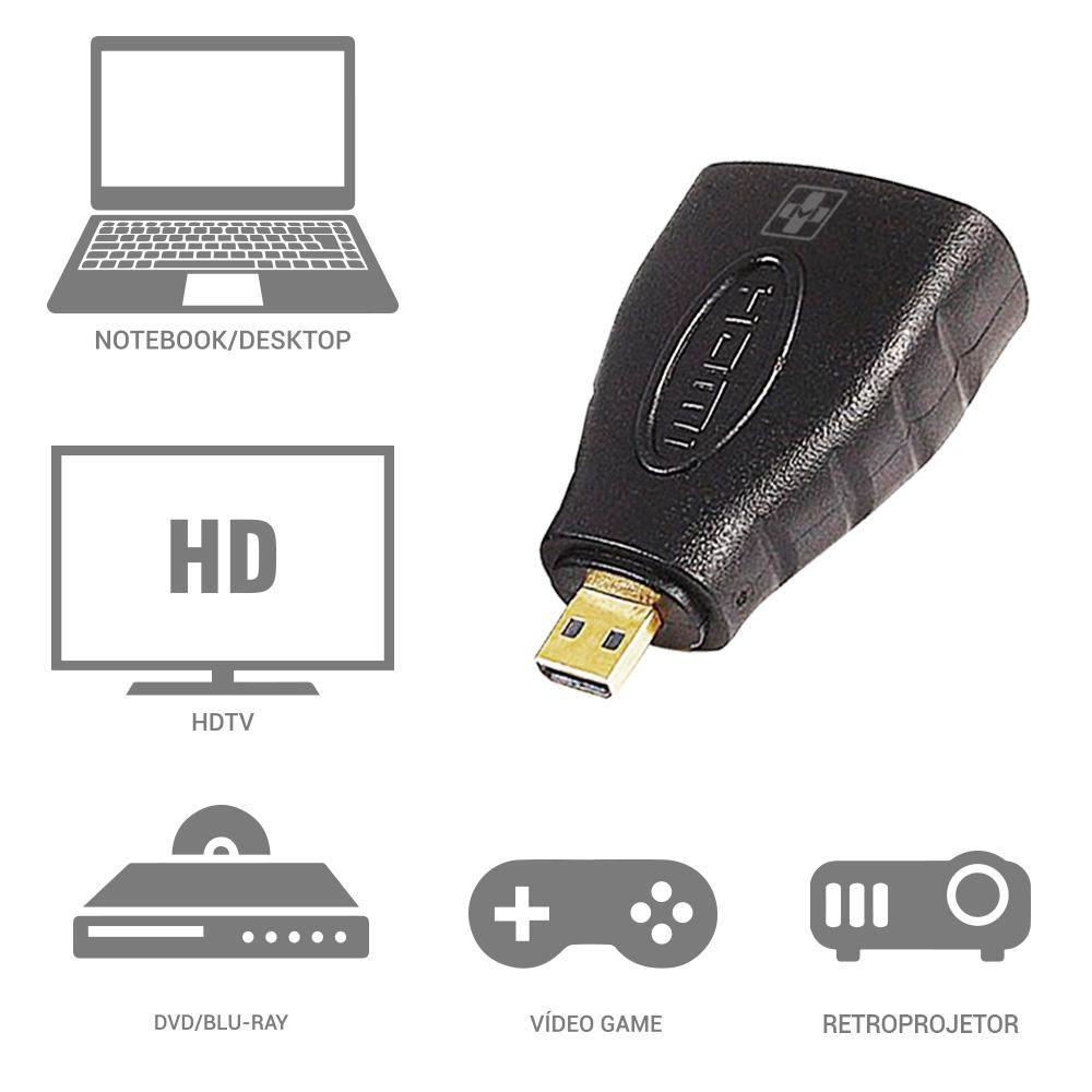Adaptador HDMI Mais Mania Micro HDMI Macho p HDMI Fêmea  - Magma Br