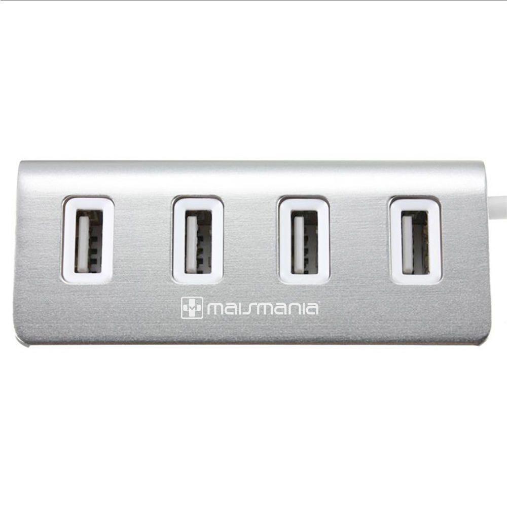 Adaptador HUB USB Mais Mania 4 x USB 2.0 Acabamento alumínio  - Magma Br