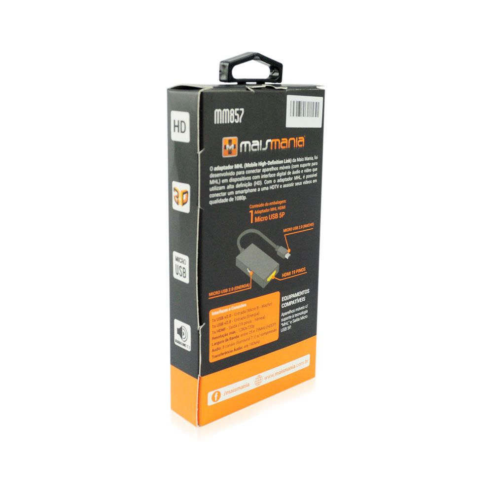 Adaptador MHL HDMI AF Mais Mania - Micro USB 5P  - Magma Br