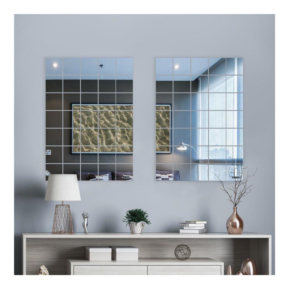 Espelho Mágico Decorativo 15x15cm Flexível Auto Adesivo Acrílico
