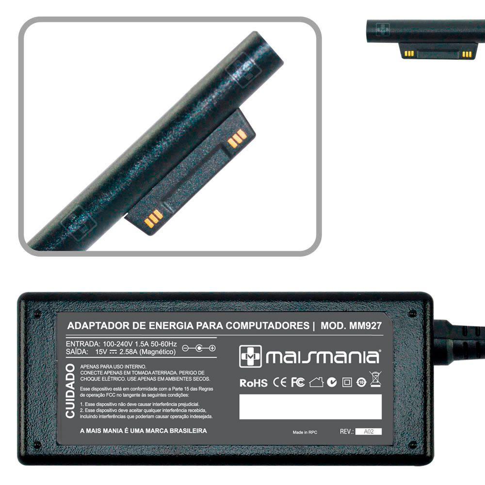Fonte Carregador Mais Mania p Microsoft Surface 15V 2.58A 40W  - Magma Br
