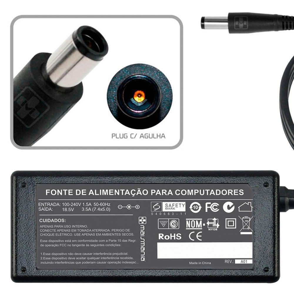 Fonte Carregador Mais Mania p Notebook HP 18.5V 3.5A 65W  - Magma Br