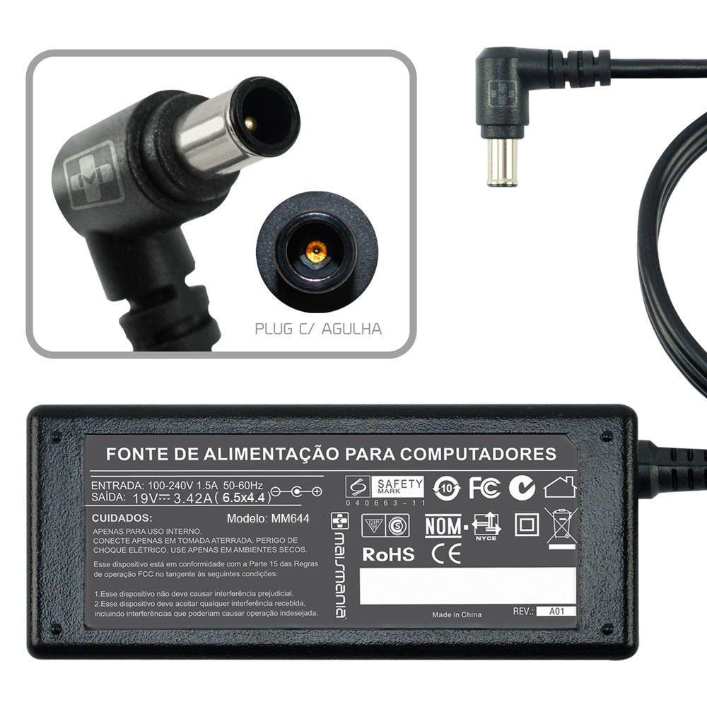 Fonte Carregador Mais Mania p Notebook LG 19V 3.42A 65W  - Magma Br
