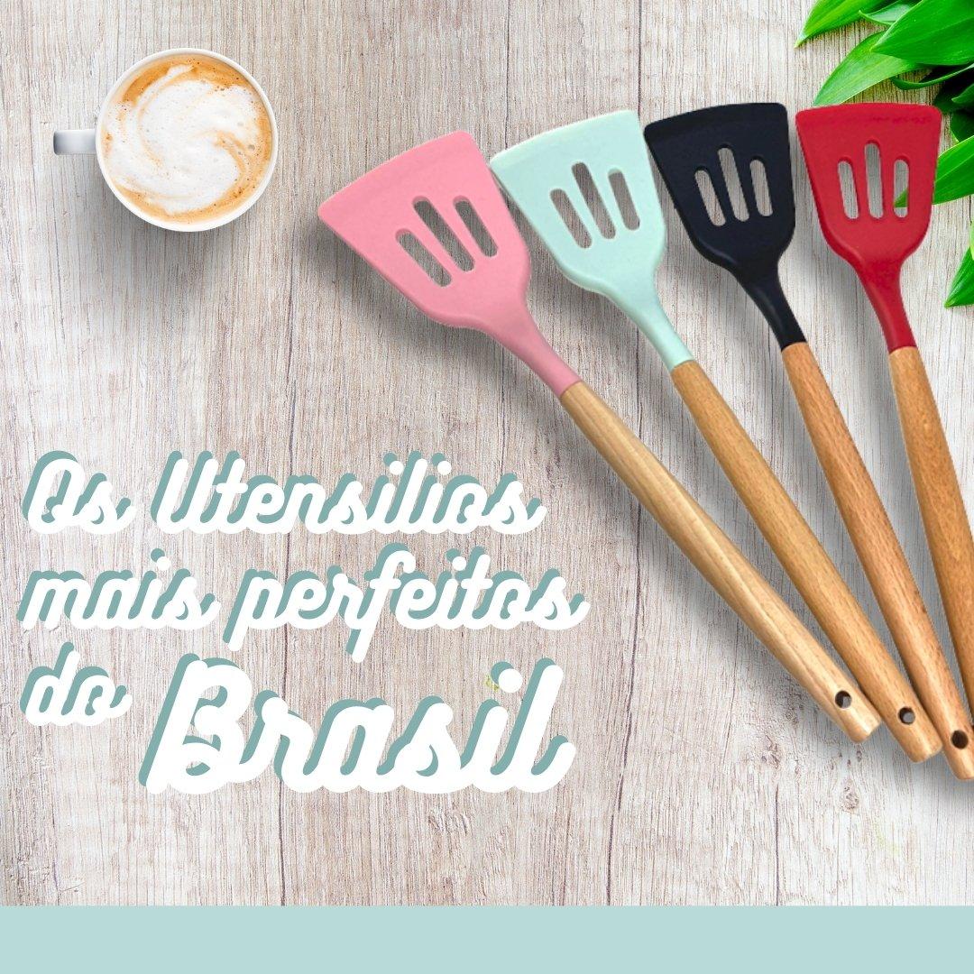 Jogo de Utensílios de Cozinha em Silicone e Madeira 12 Peças Perfect Food