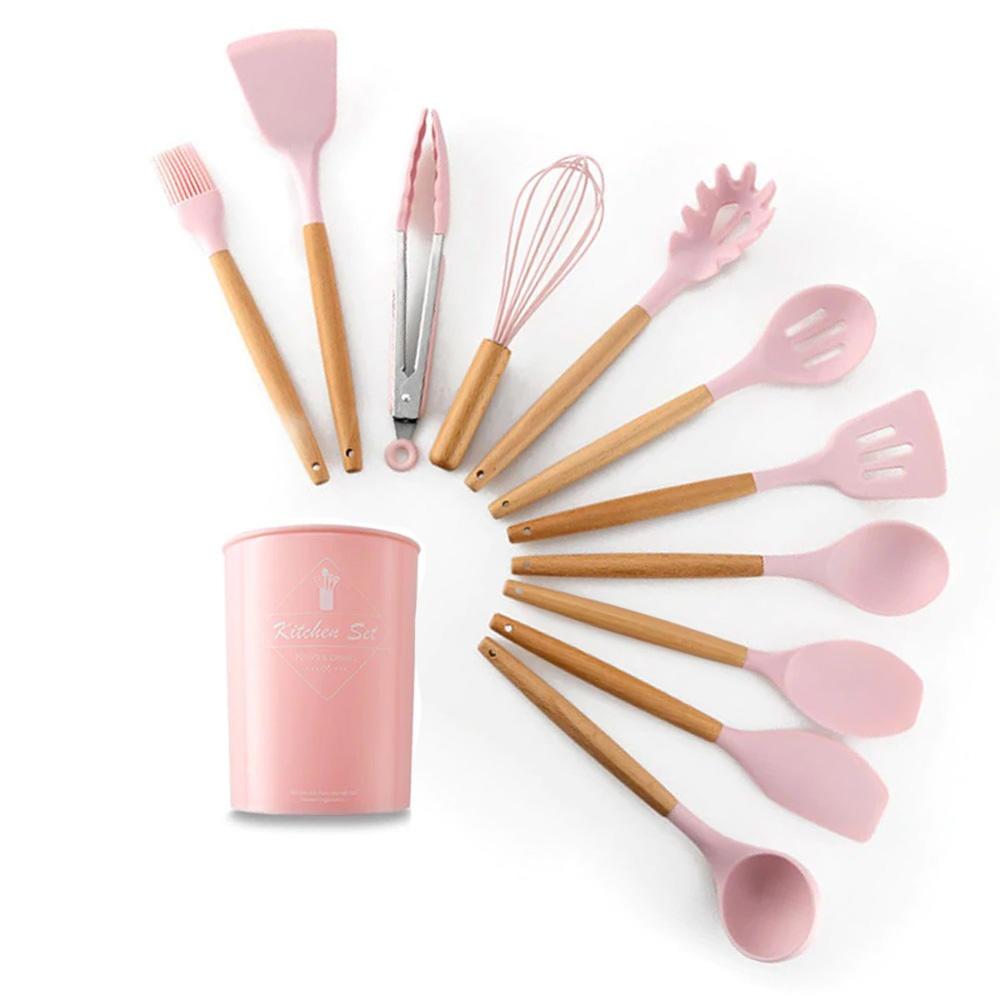 Jogo de Utensílios de Cozinha em Silicone e Madeira 12 peças Rosa
