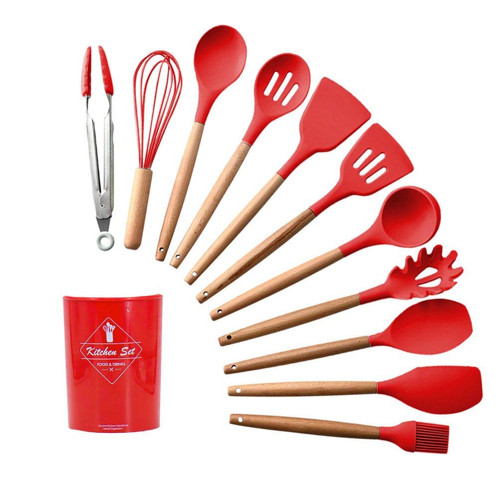 Jogo de Utensílios de Cozinha em Silicone e Madeira 12 peças Vermelho