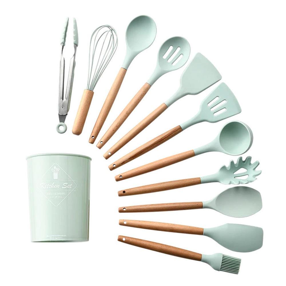 Jogo Utensílios Cozinha em Silicone e Madeira 12 peças Verde