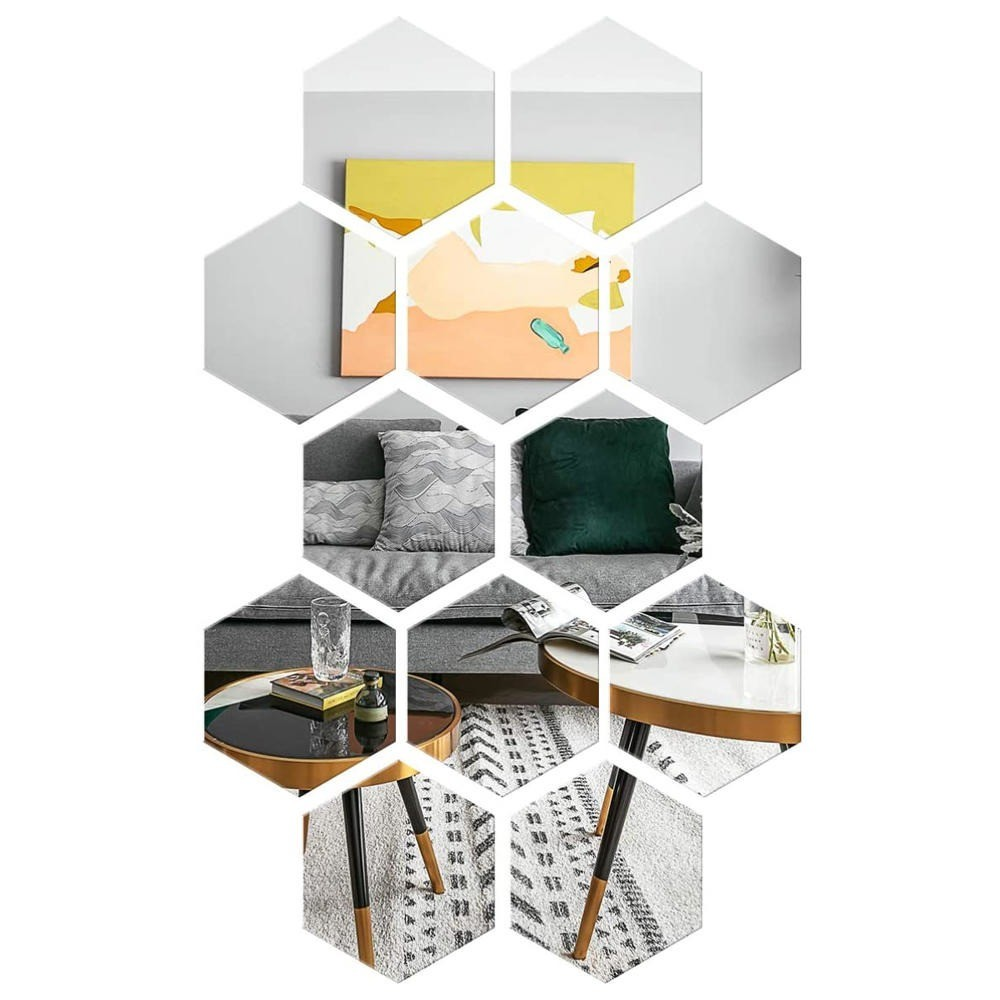 Kit 10 Espelho Mágico Decorativo 20x17 Hexagonal Flexível Auto Adesivo Acrílico