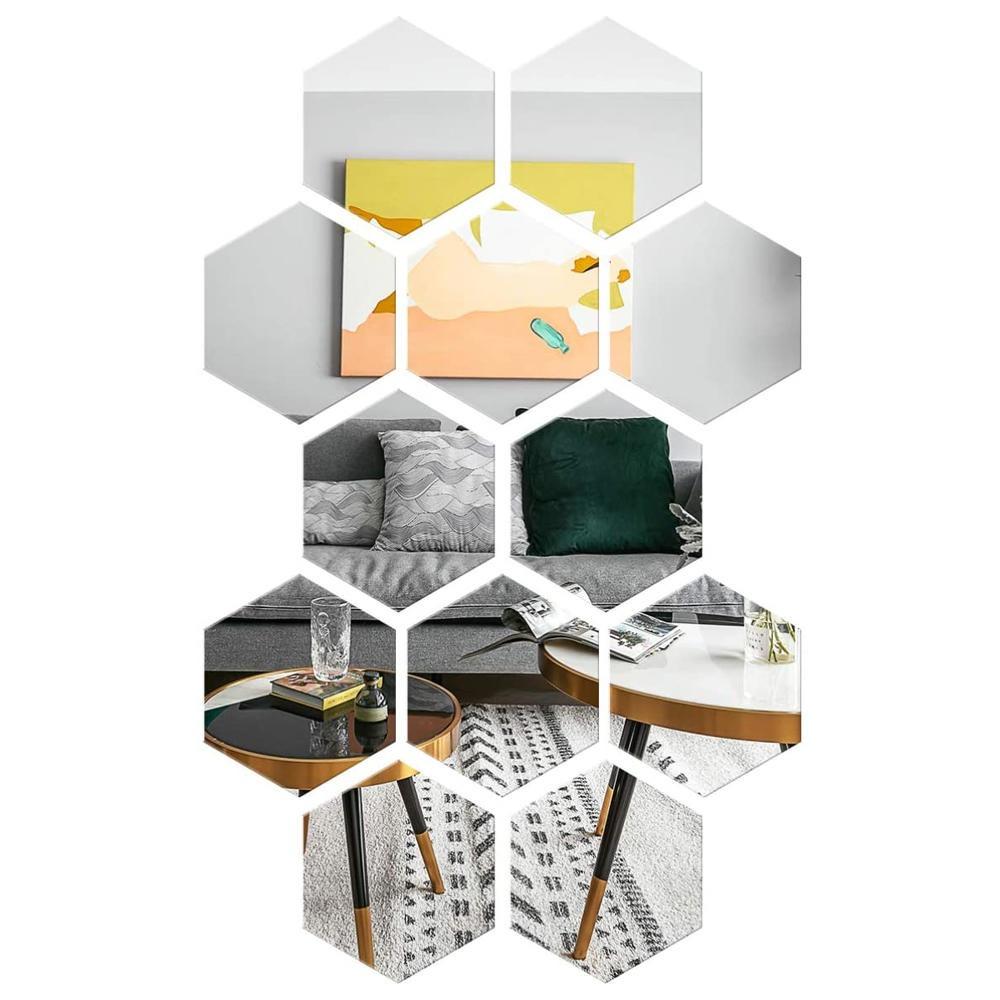 Kit 10 Espelho Mágico Decorativo 20x17 Hexagonal Flexível Auto Adesivo Acrílico Pet